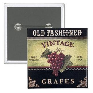 Vinho velho das uvas do vintage da forma, o roxo e boton