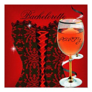 Vinho vermelho 2 do preto do espartilho da festa convite quadrado 13.35 x 13.35cm
