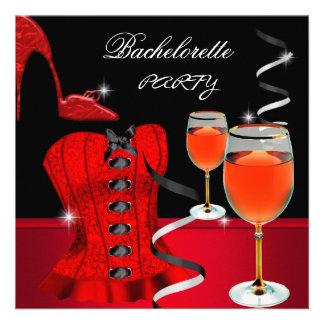 Vinho vermelho do preto do espartilho da festa de  convites personalizado