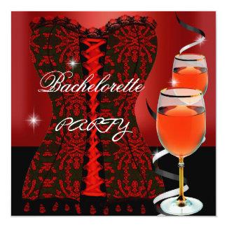 Vinho vermelho do preto do espartilho da festa de convite quadrado 13.35 x 13.35cm