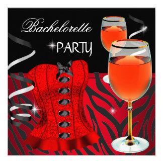 Vinho vermelho do preto do espartilho da zebra da  convite personalizado