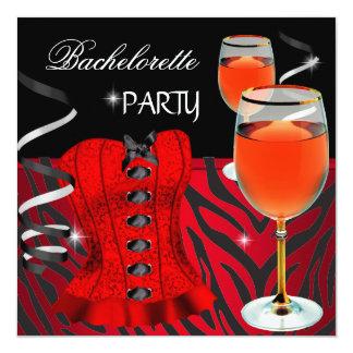 Vinho vermelho do preto do espartilho da zebra da convite quadrado 13.35 x 13.35cm