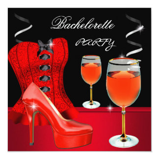 Vinho vermelho do preto do espartilho dos calçados convite quadrado 13.35 x 13.35cm