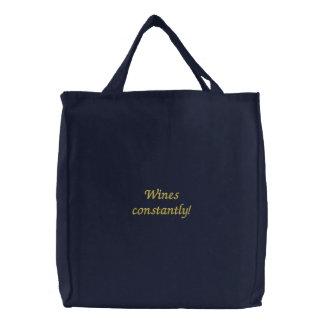 Vinhos constantemente Saco bordado engraçado Bolsas Para Compras