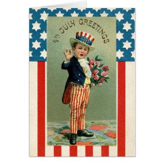 Vintage 4o do tio Sam dos jovens de julho Cartão