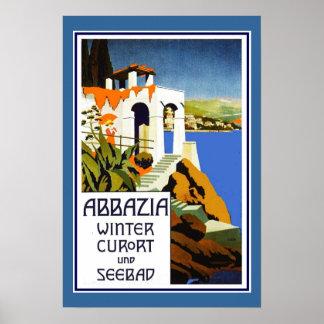 Vintage Abbazia Italia do poster de viagens