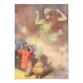 Vintage Aladdin e génios do convite da lâmpada