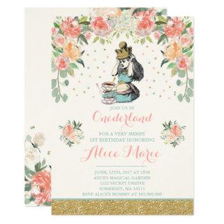 Vintage Alice no convite do aniversário de
