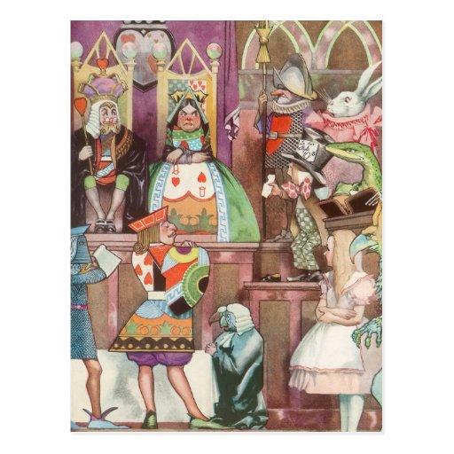 Vintage Alice no país das maravilhas, rainha dos c Cartao Postal