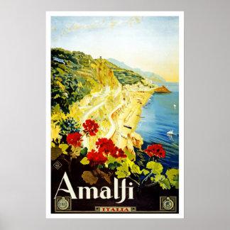 Vintage Amalfi Italia Europa do poster de viagens