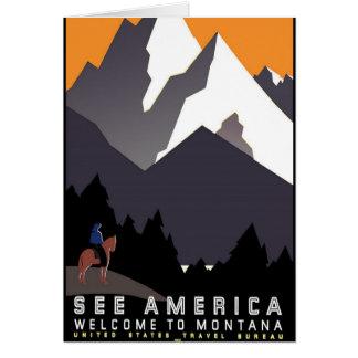 Vintage - boa vinda a Montana Cartão Comemorativo