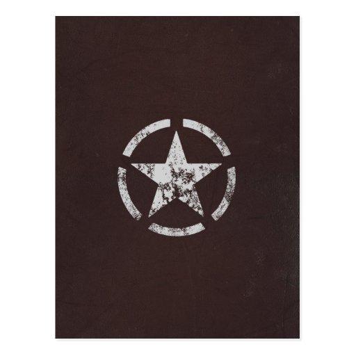 Vintage branco aliado da estrela dos E.U. Cartao Postal