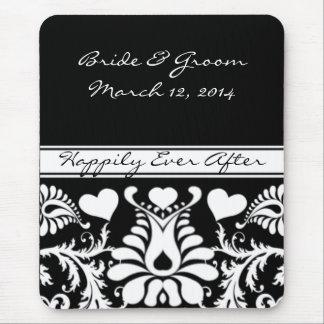 Vintage branco e preto MousePad Wedding floral