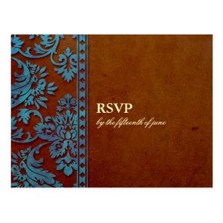 Vintage Brown & laço azul do damasco que Wedding R Cartao Postal