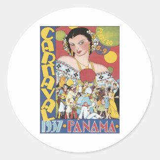 Vintage Carnaval Panamá 1937 Adesivos Em Formato Redondos