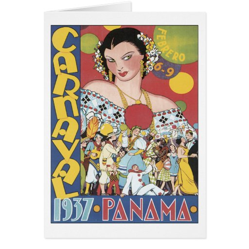 Vintage Carnaval Panamá 1937 Cartão