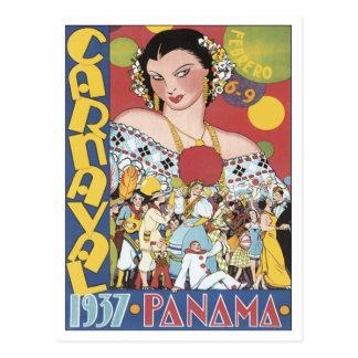 Vintage Carnaval Panamá 1937 Cartão Postal
