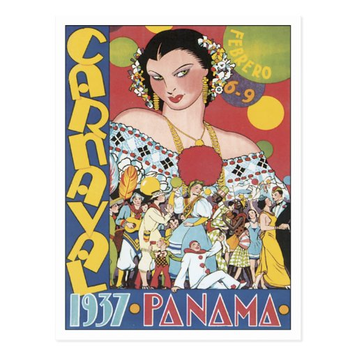Vintage Carnaval Panamá 1937 Cartões Postais