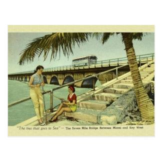 Vintage cartão de Florida da ponte de sete milhas