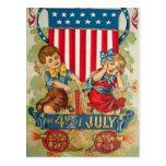 Vintage cartão do 4 de julho cartão postal