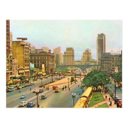 Vintage centro de cidade de Brasil, Sao Paulo Cartões Postais