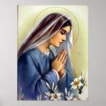 Vintage clássico mãe abençoada da Virgem Maria do  Impressão