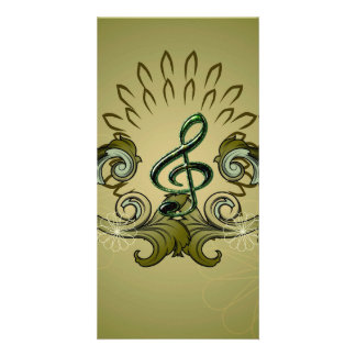 Vintage, clef com damascos cartão com foto