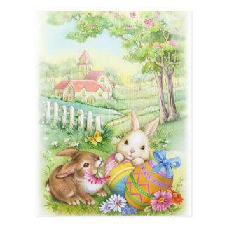 Vintage, coelhinhos da Páscoa nostálgicos Cartão Postal