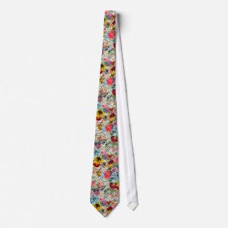 Vintage colorido floral gravata
