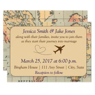 Vintage, convite de casamento temático do viagem