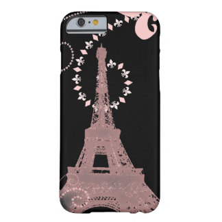 vintage cor-de-rosa elegante feminino de Paris da Capa Barely There Para iPhone 6