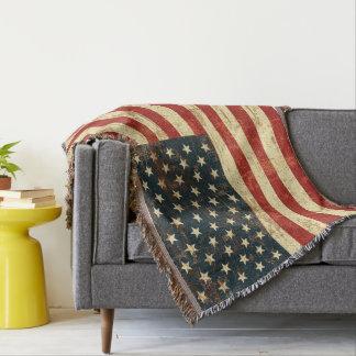Vintage da bandeira americana afligido coberta