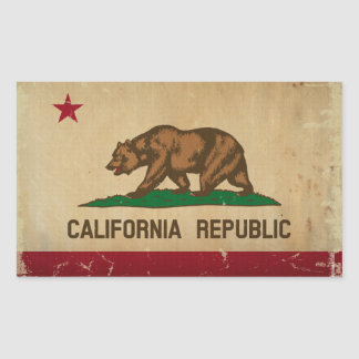 VINTAGE da bandeira do estado de Califórnia Adesivo Retangular