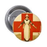 Vintage da cruz vermelha do poster de WWI Botons
