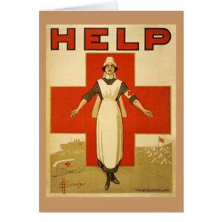 Vintage da cruz vermelha do poster de WWI Cartoes