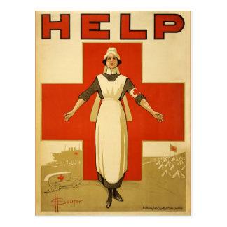 Vintage da cruz vermelha do poster de WWI Cartão Postal