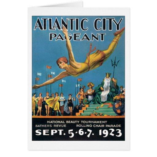 Vintage da representação histórica de Atlantic Cit Cartoes