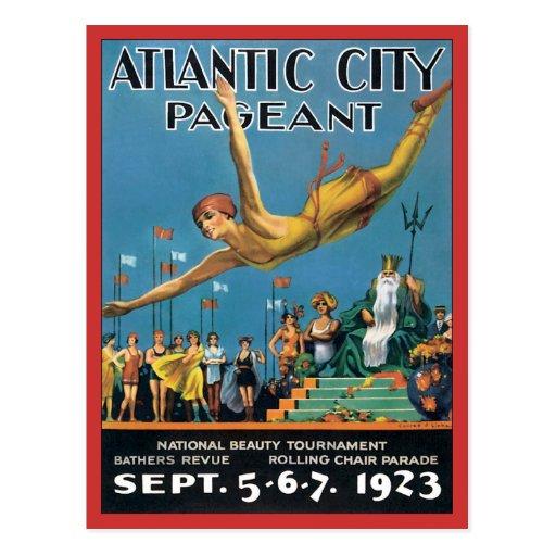 Vintage da representação histórica de Atlantic Cit Cartões Postais