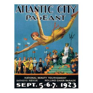 Vintage da representação histórica de Atlantic Cit Cartao Postal