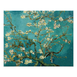 Vintage de florescência Van Gogh floral da árvore Poster