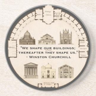 Vintage de John Plaw da arquitetura de Winston Chu Porta Copos De Arenito