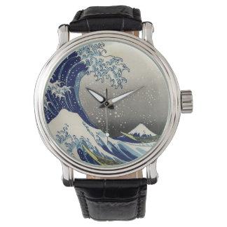 Vintage de PixDezines, grande onda, 葛飾北斎の神奈川沖浪 de Relógios