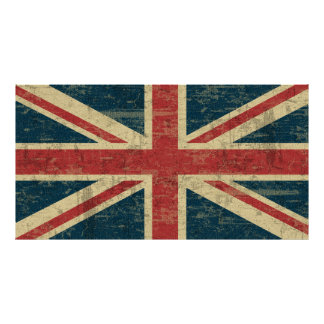 Vintage de Union Jack afligido Pôster