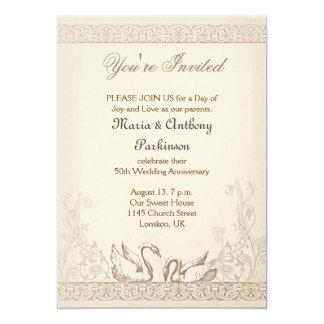 vintage do aniversário de casamento dos pássaros convite 12.7 x 17.78cm