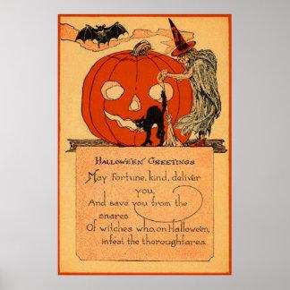 Vintage do bastão do gato preto da bruxa da lanter impressão
