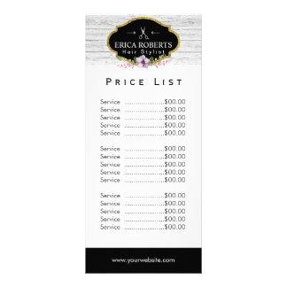 Vintage do cabeleireiro da tabela de preços | 10.16 x 22.86cm panfleto