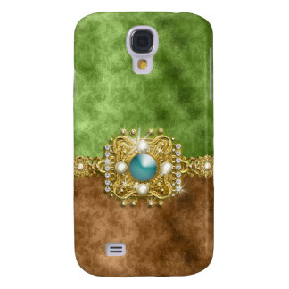Vintage do damasco das pérolas dos diamantes capas personalizadas samsung galaxy s4