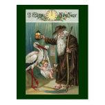 Vintage do feliz ano novo cartao postal