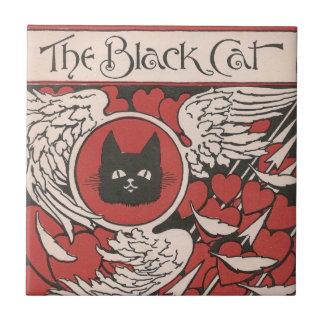 Vintage do gato preto, dos corações e das asas azulejo