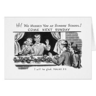 Vintage do kitsch nós faltamo-lo catequese cartão comemorativo